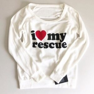 Chaser I Love My Rescue Draped Back Jumper Sz S